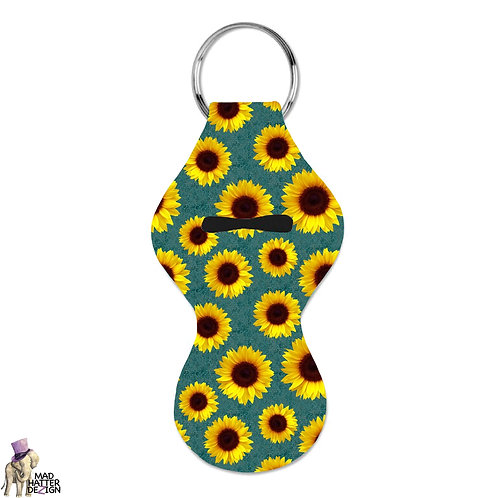 Sunflower Teal Chapstick Keychain