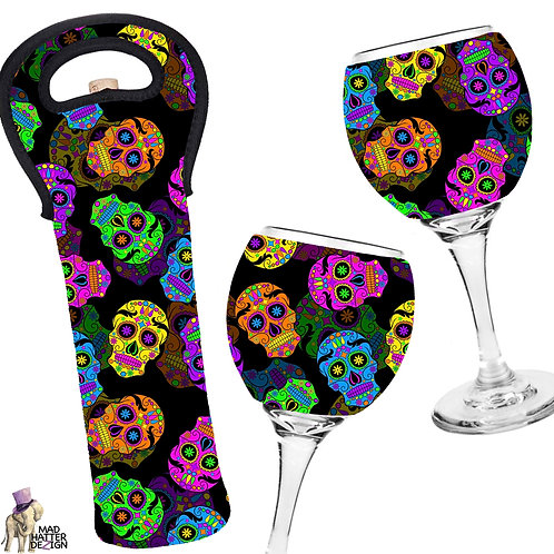 Sugar Skulls Wine Cozy Set