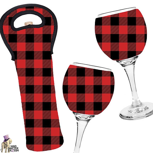 Buffalo Plaid Wine Cozy Set