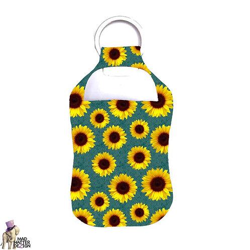 Sunflower Teal Sanitizer Keychain
