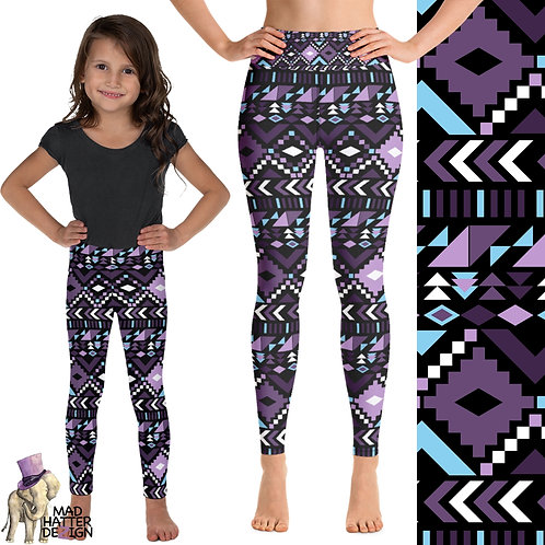 Aztec Purple & Blue Leggings