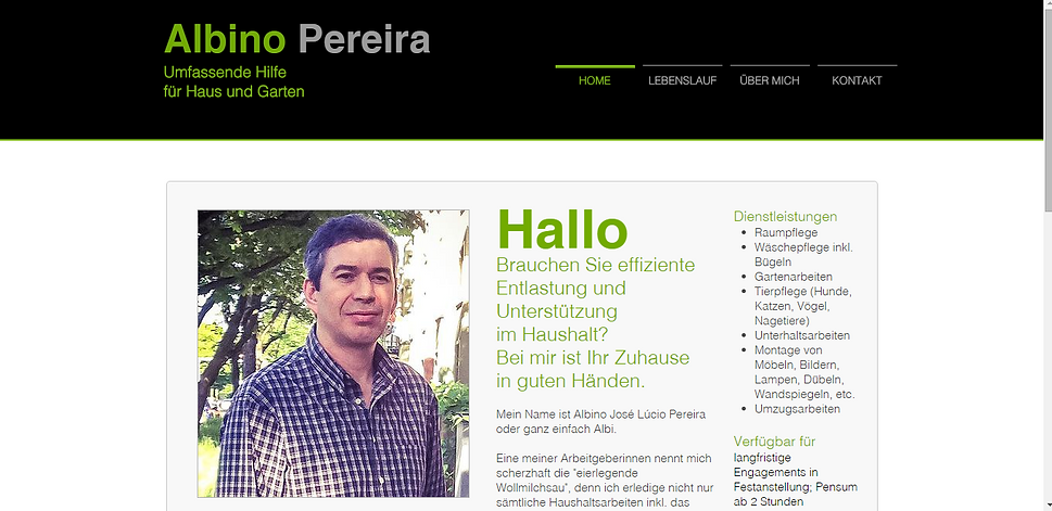Bewerbungs-Website für einen Privatkunden