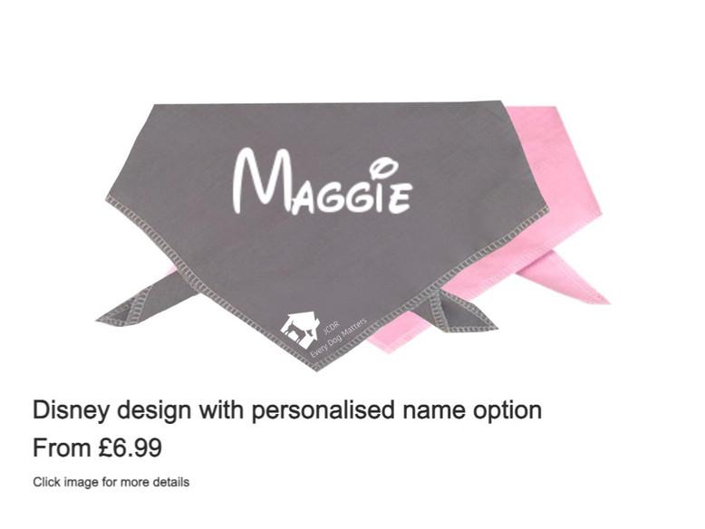 Dog bandana - Disney effect design with personalised name