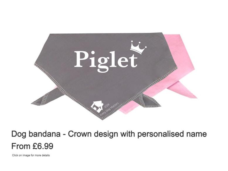 Dog Bandana - Crown design with personalised name