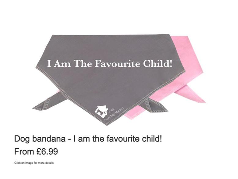 """Dog bandana - """"I am the favourite child!"""""""