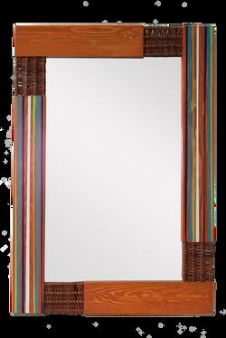 Espejo rayas Nogal