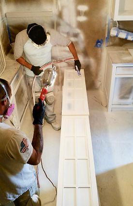 Kitchen Cabinet restoration in progress.
