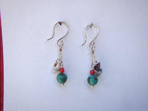 Boucles d'oreilles coqillages, corail et turquoises