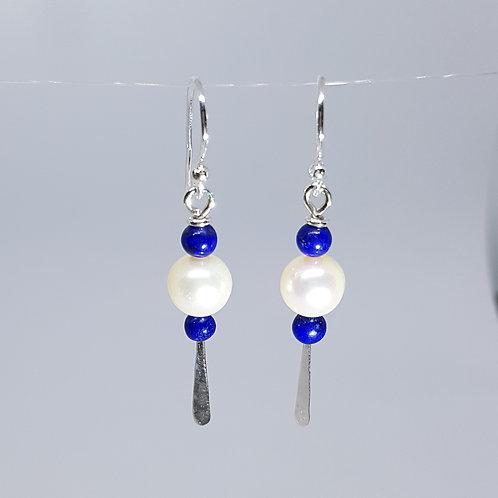 boucles d'oreilles perles et lapis lazuli