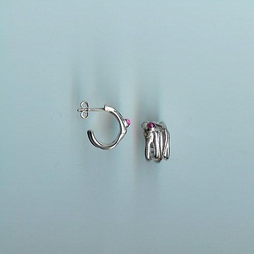 boucles d'oreilles branchages et tourmalone rose