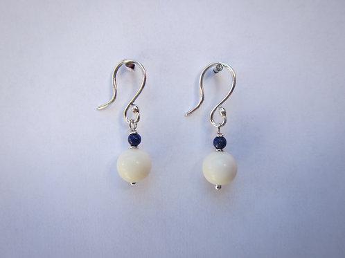 boucles d'oreilles calcédoine et lapis lazuli