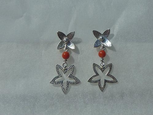 Boucles d'oreilles fleur et perles de corail