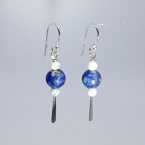 Boucles d'oreilles lapis lazuli et magnésites