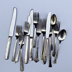 Vintage silverplated flatware wedding rental in Boise