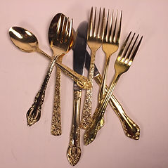 Vintage gold flatware wedding rental in Idaho
