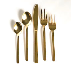 Modern gold flatware event rental in Boise, Idaho