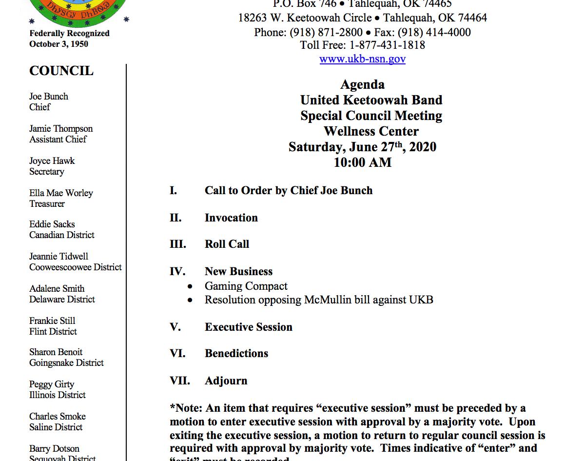 Agenda for Special Meeting - June 27, 2020