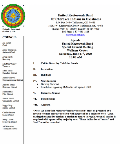 Agenda for Special Meeting - June 27, 2020