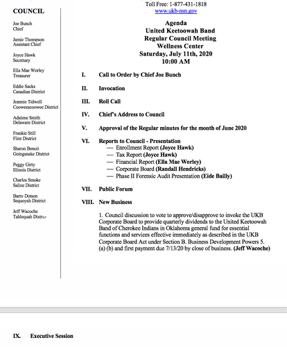 Agenda For Regular Monthly Meeting - July 11, 2020