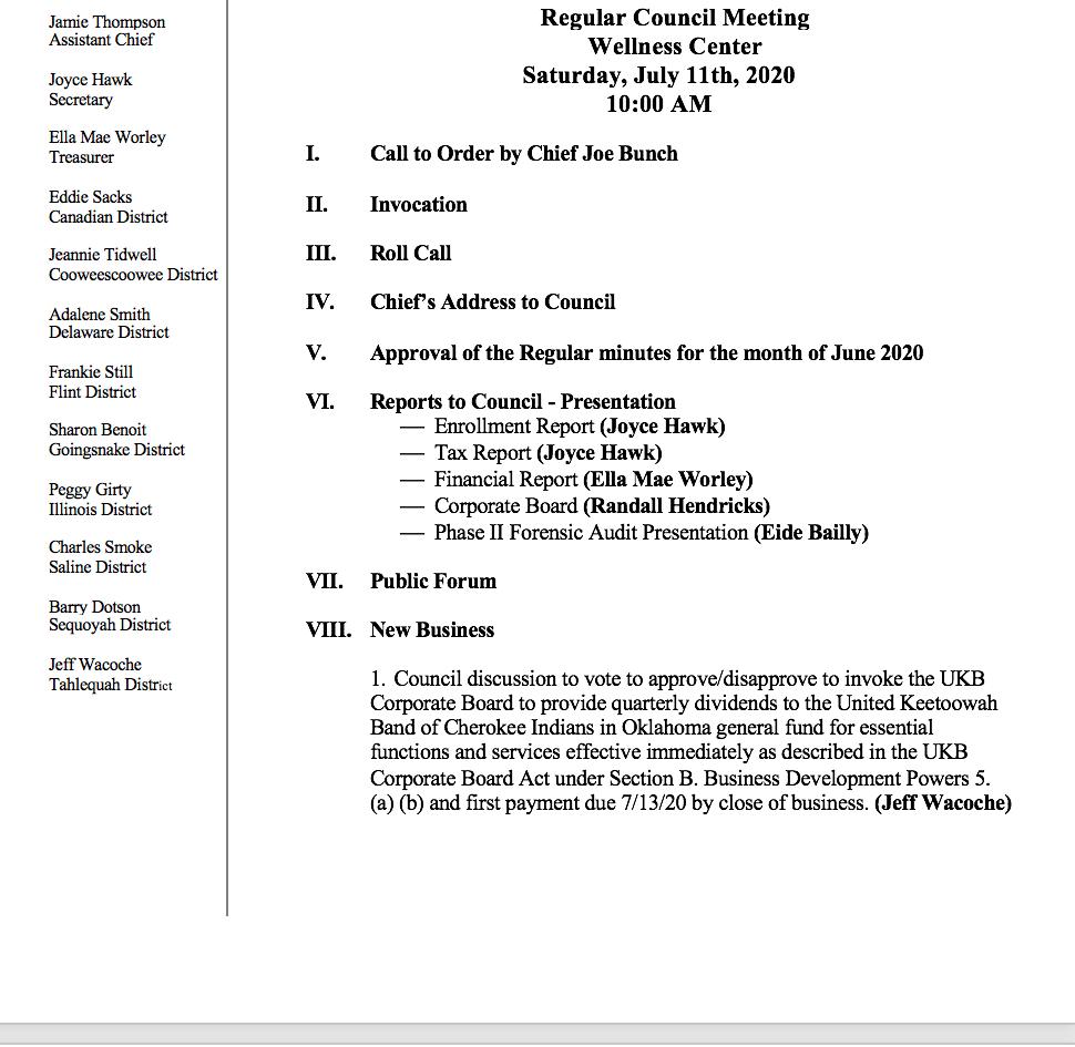 Agenda For Regular Monthly Meeting - July 11, 2020