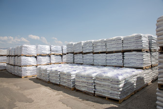 Ice Melt Bags on pallets