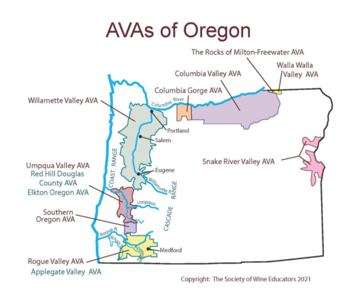 The different wine growing region in Oregon