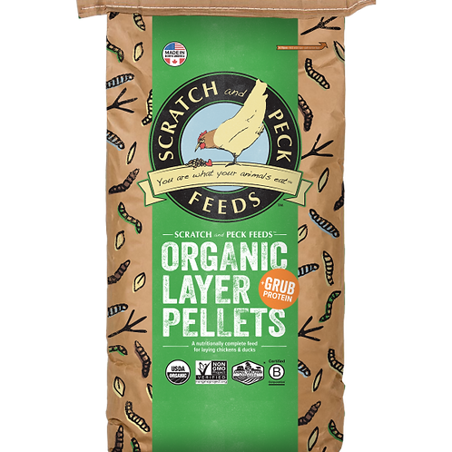 Scratch and Peck Organic Layer Pellets + Grub Protein