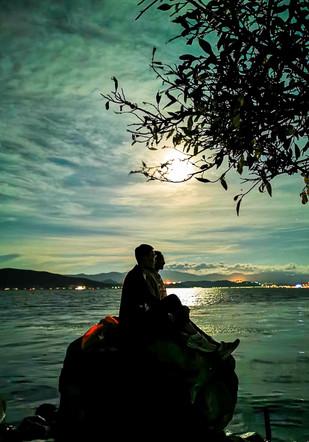 Full moon at Er Hai Lake, China