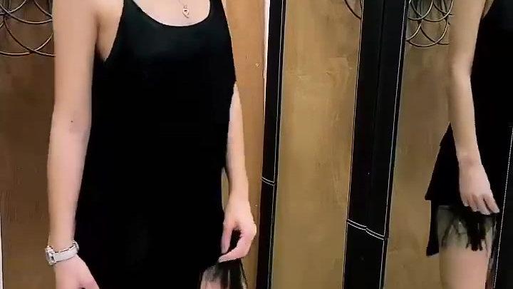 Robe courte franges, bretelles, noir