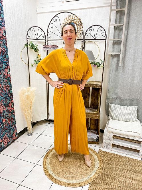 Robe longue, jaune, dos en V...