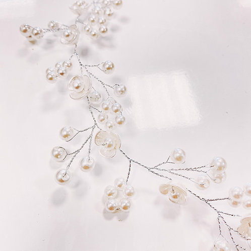 Couronne, argenté, fleurs, perles...