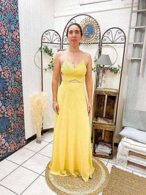 Robe longue, dos V, jaune ...