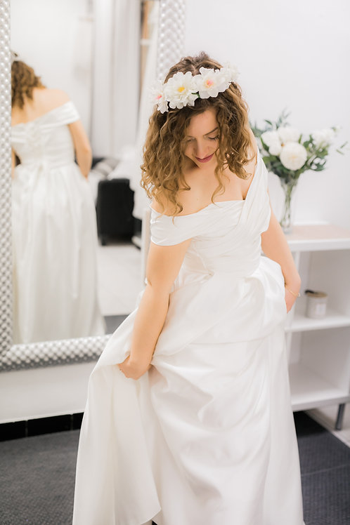 Robe longue mariée EVA, satin, ivoire...