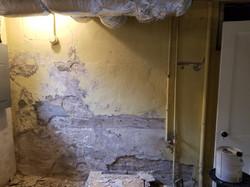 Basement Wall Skim Coat (Before)