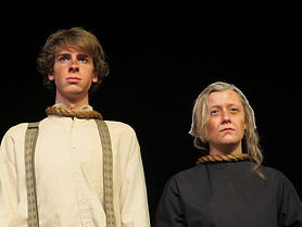 John Proctor and Rebecca Nurse prepare to be hanged. Scene from The Crucible.