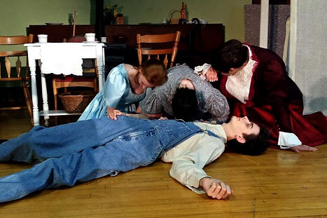 Matthew Cuthburt's death. Anne, Marilla and Rachel react. Scene from Anne of Green Gables.