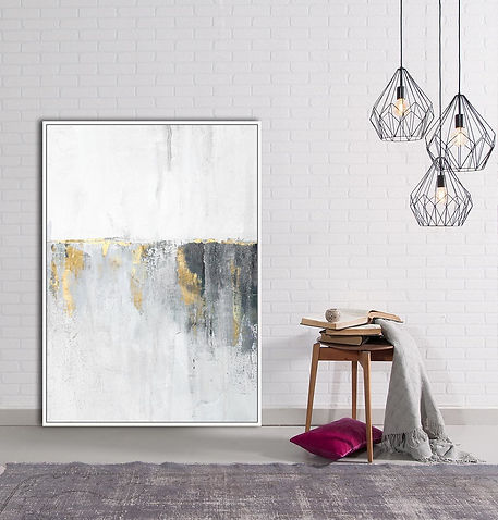 Grey+&+Gold+Horizon+Abstract+Framed+Canv