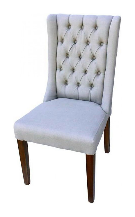 Natural Button Dining Chair