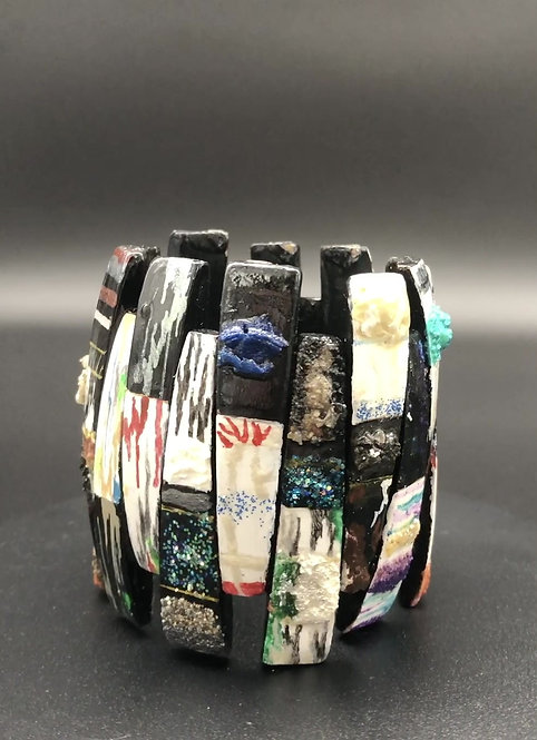 Textured Geometric Stretch Bracelet I