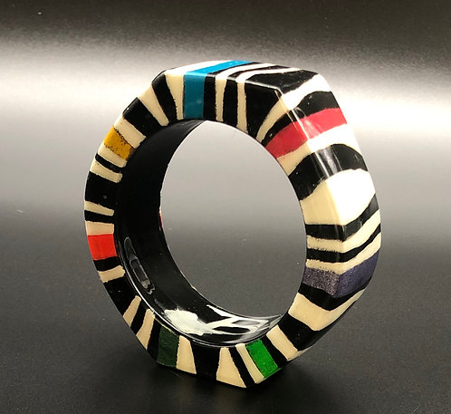 Black white color bangle