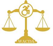 "WACDA Logo. A scale with the universal sign of accessibility at the top and ""WACDA"" written at the bottom."