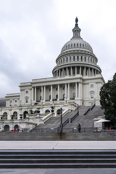 The United States Capitol, a white dome-shaped building with columns and multiple levels of stairs leading up to it