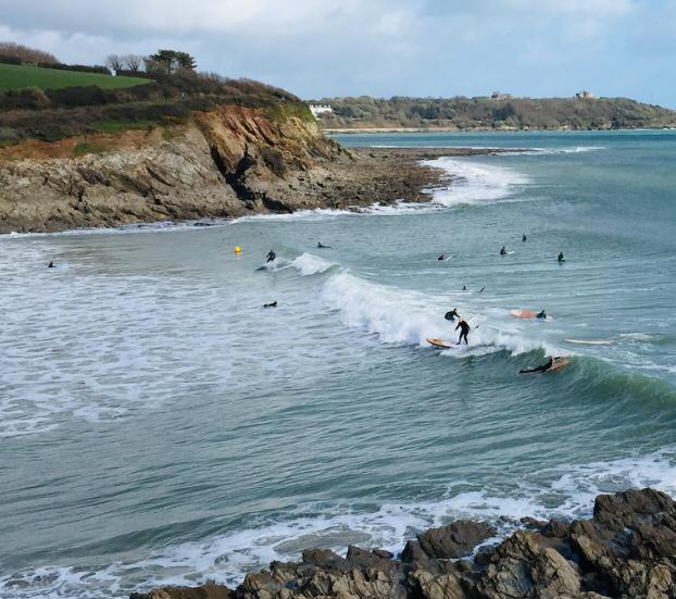 Surfers at Swanpool Beach