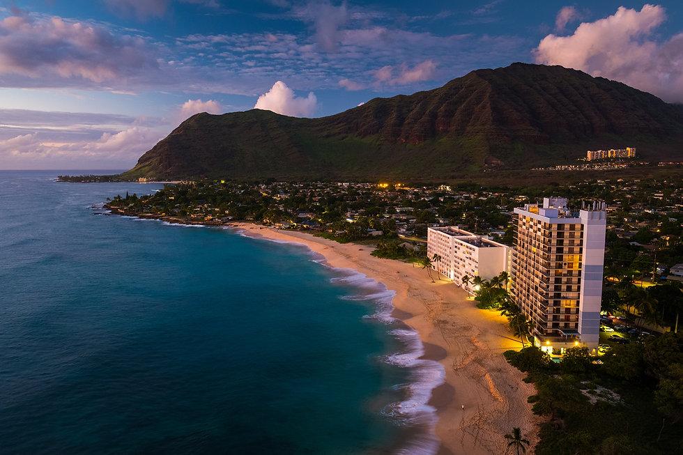 Papaoneone beach on the west coast of Oahu at twilight, Hawaii.jpg