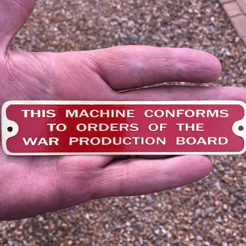 South Bend War Board Tag