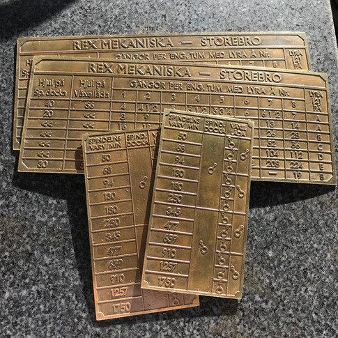Swedish Lathe Gearbox Plates