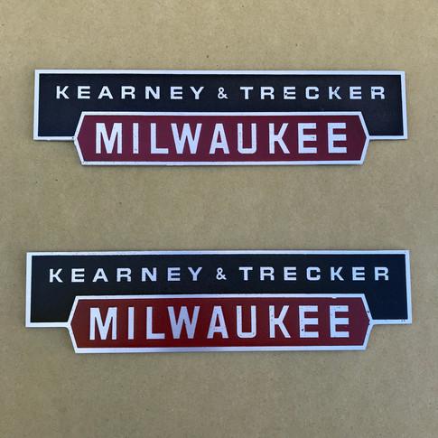 Kearney & Trecker Mill Plates