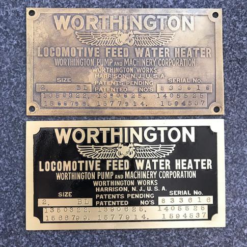 Worthington Locomotive Plate