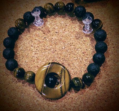 Tiger's Eye And Black Obsidian Stretch Bracelet