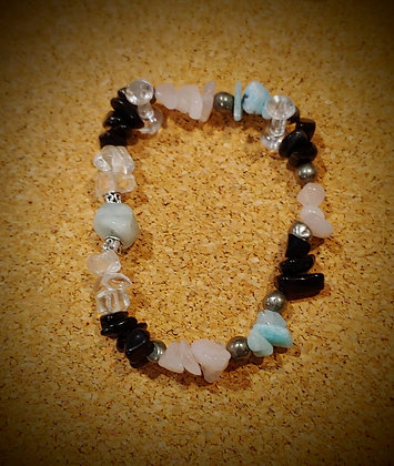 Amazonite, Rose Quartz, and Quartz chips